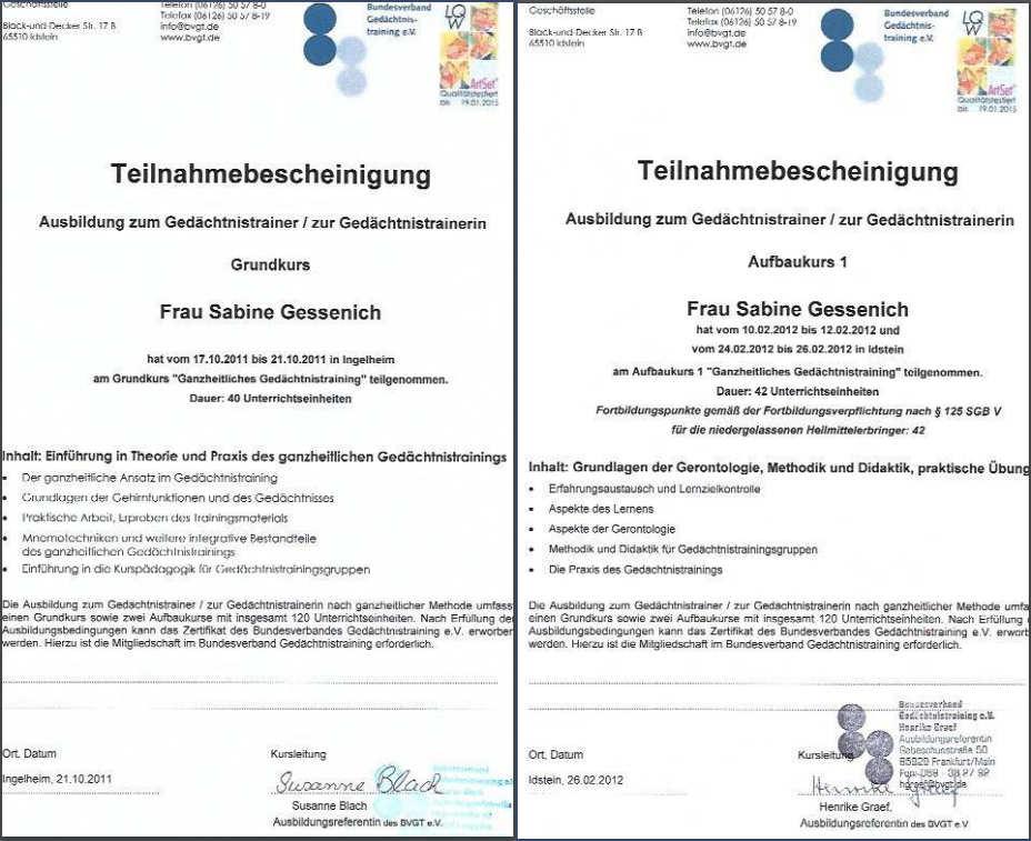 Teilnamebescheinigung Gedaechtnisstraining