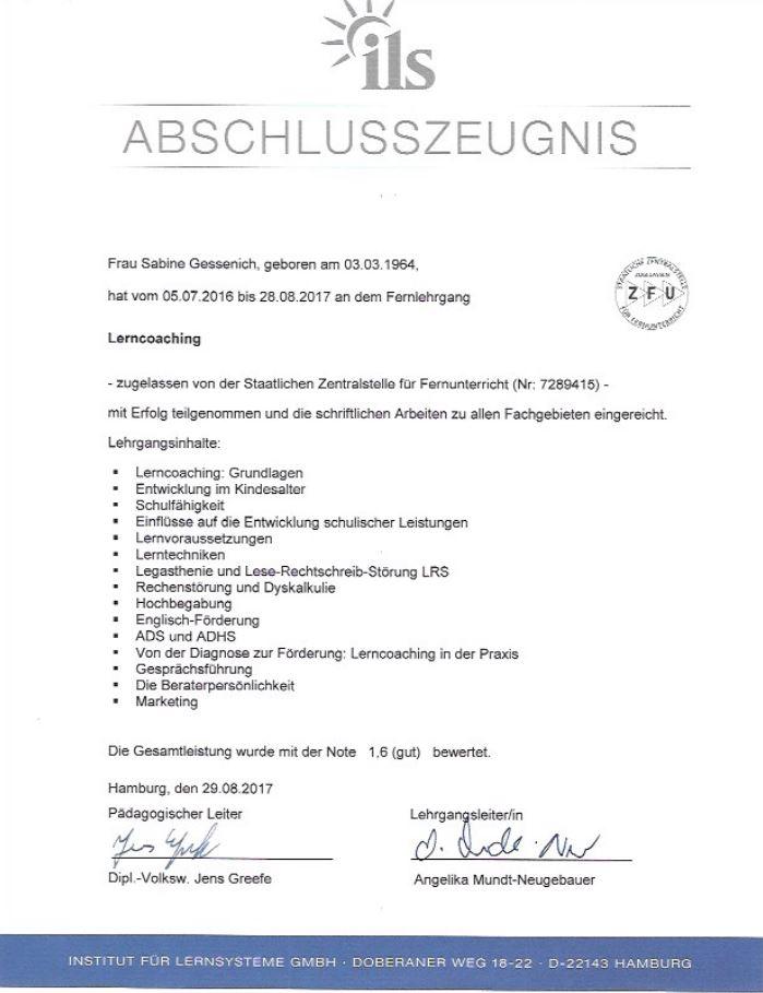 ILS-Zertifikat Sabine Gessenich
